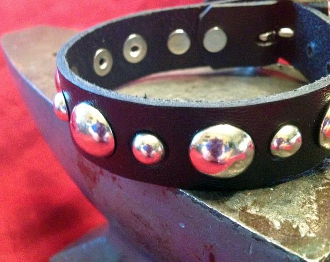 Round Studded Leather Cuff