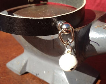 Tiny Ivory Colored Bell on Black Leather Choker