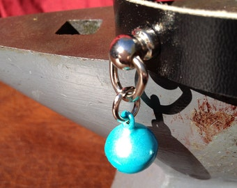 Tiny Robin's Egg Blue Bell on Black Leather Choker