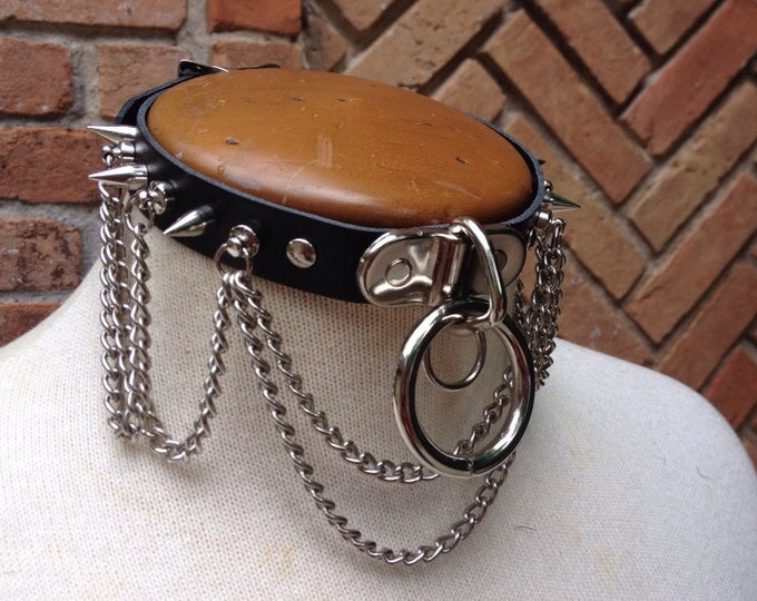 Chained and spiked Leather Collar