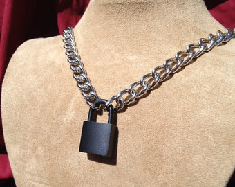 Stainless Steel Chain Necklace Choker with Black Padlock