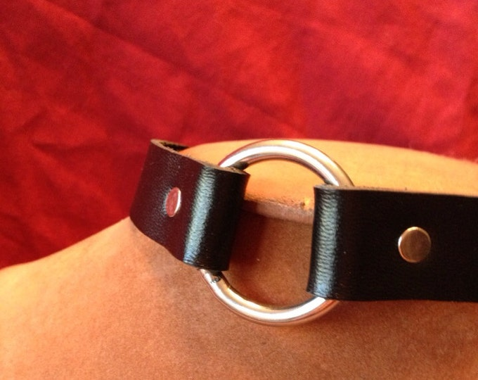 Medium Stainless Steel O Ring Leather Bondage Collar