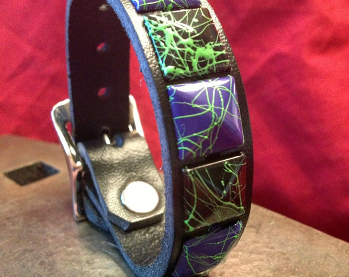 Purple Black and Green Studded Leather Cuff