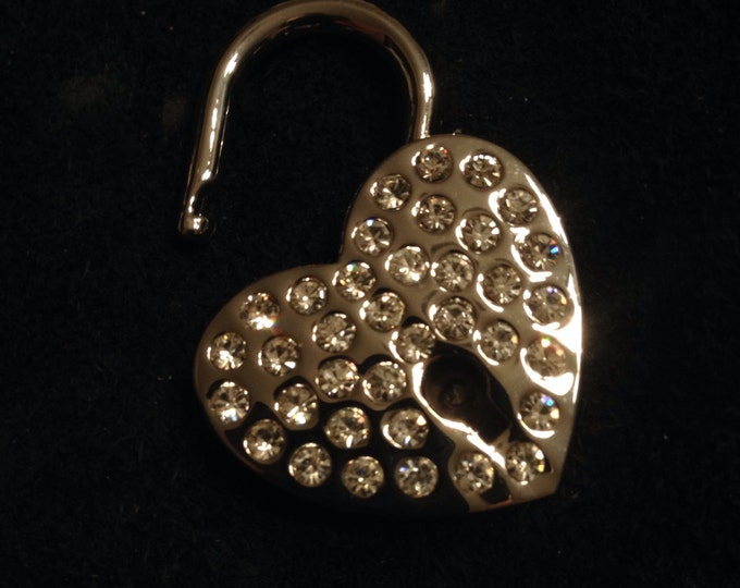 Large Heart-shaped Rhinestone covered Silver Colored Working Padlock