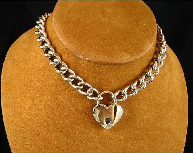 Stainless Steel Chain Choker with Small Heart Padlock
