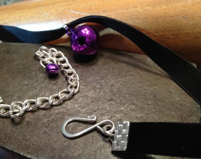 Purple  Bell on Black Velvet Choker
