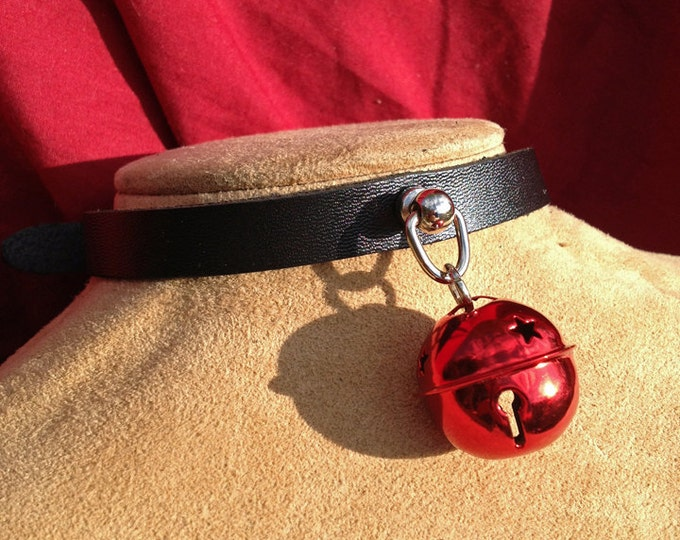 Small Shiny 1 inch Red Bell on Black Leather Choker
