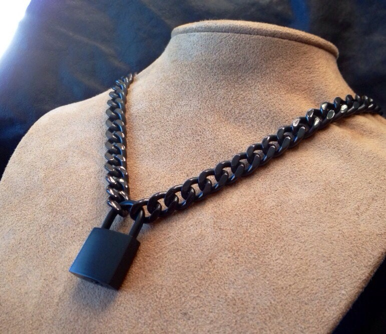 bd1ad44859870 Black Chain Necklace or Choker with Black Padlock