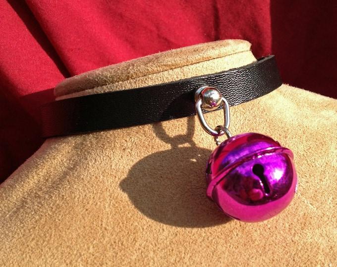 Small Shiny 1 inch Fuchsia Bell on Black Leather Choker