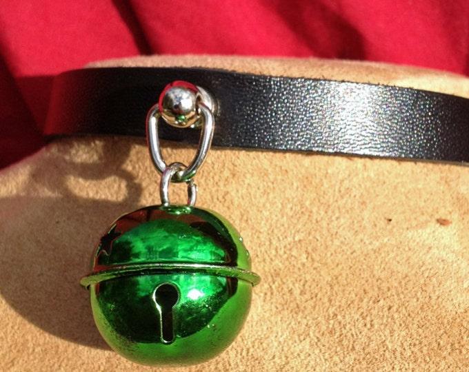 Small Shiny 1 inch Dark Green Bell on Black Leather Choker