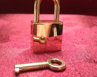 Large Gold Colored Square  Working Padlock