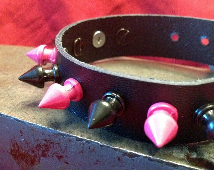 Pink and Black Spiked Leather Cuff