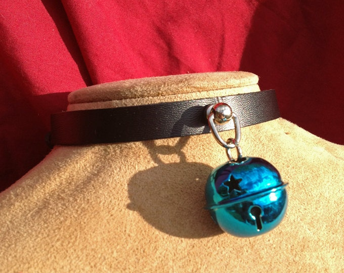 Small Shiny 1 inch Blue  Bell on Black Leather Choker