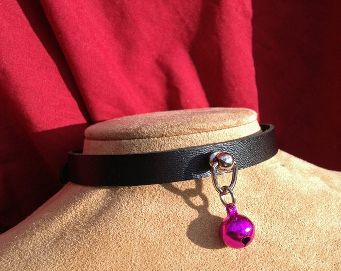 Tiny Fuchsia Hot Pink Bell on Black Leather Choker