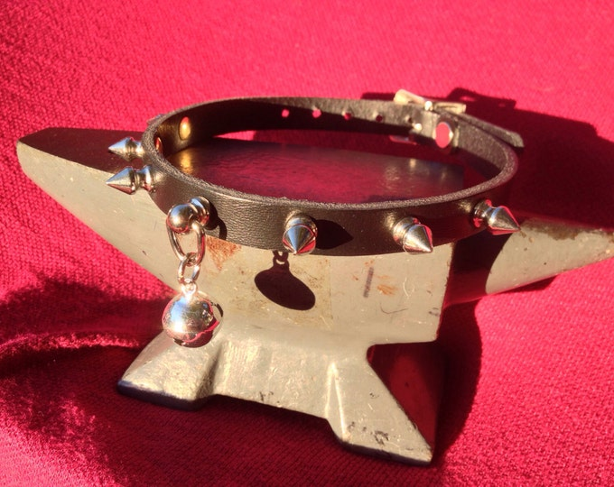 Tiny Silver Bell on Black Spiky Leather Choker