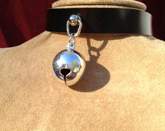 Medium Shiny Silver Colored  Bell on Black Leather Choker