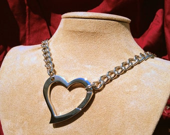Chain Choker with Large Heart Clip