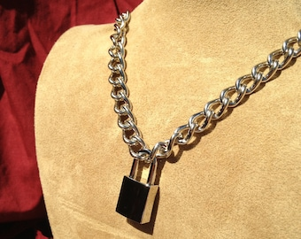 Stainless Steel Chain Necklace with Small Square Padlock
