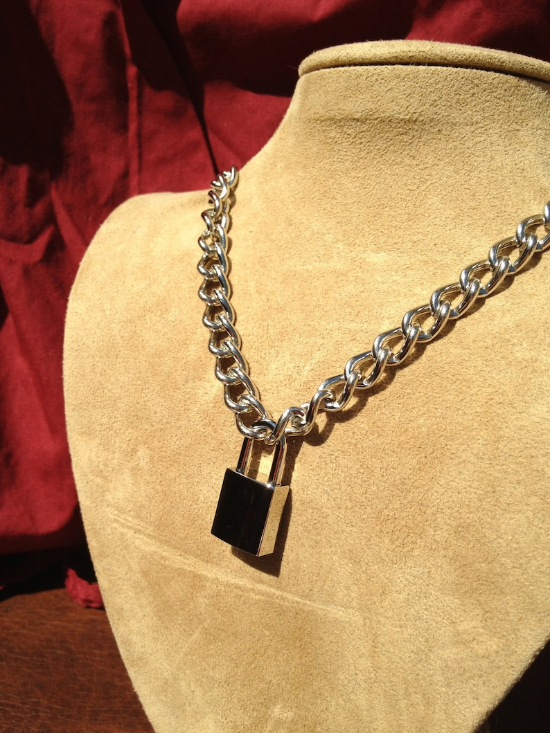 91469580670dd Chain Choker with Small Square Padlock