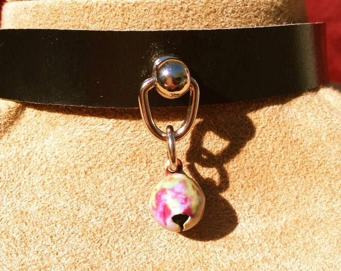 """Super Tiny Pastel """"Tie Dyed"""" Bell on Black Leather Choker"""