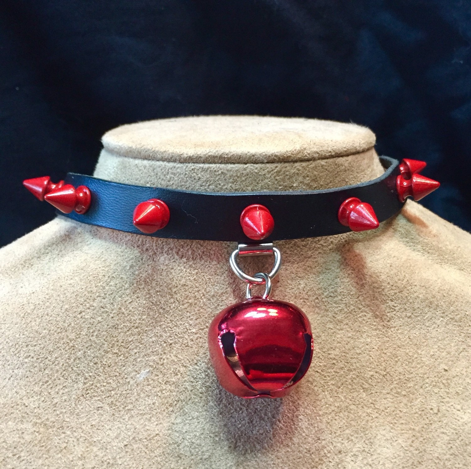 Red Jingle Bell on Red Spiked Leather Choker | Etsy