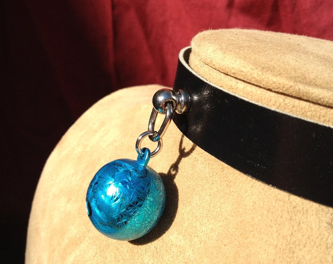 Bright Blue Frost Bell on Black Leather Choker