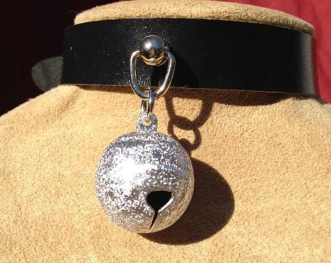 Sparkly Silver Colored Bell on Black Leather Choker