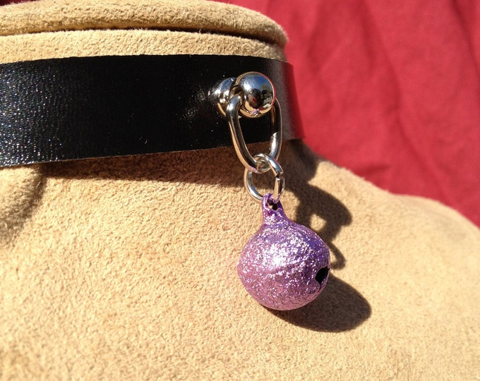 Tiny Sparkly Lavender Bell on Black Leather Choker