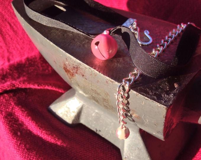 Bubblegum Pink Bell on Black Velvet Choker