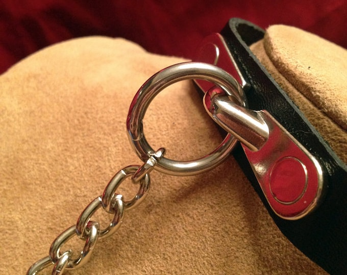 Leather Collar with Chain Attached
