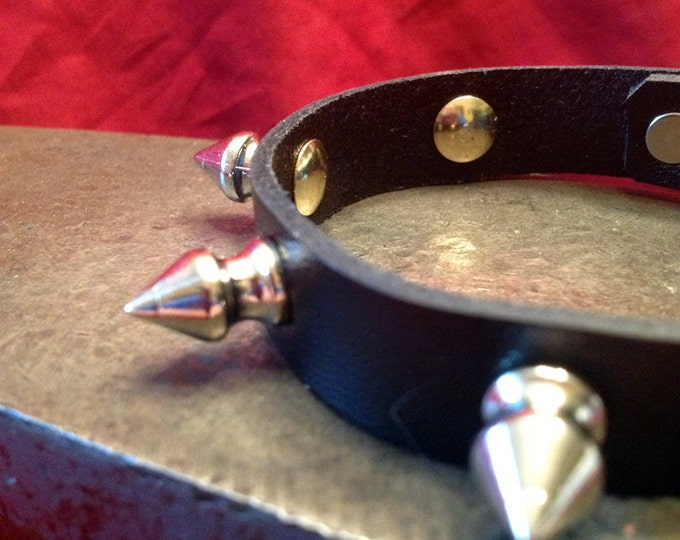 Silver Spiked Leather Cuff