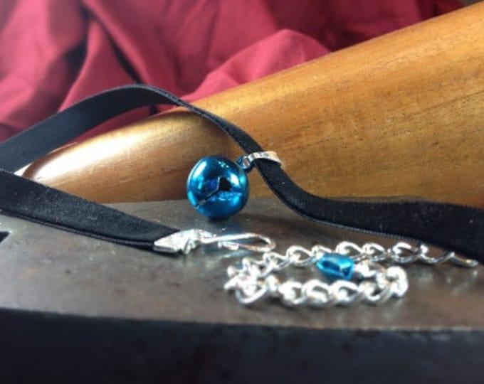 Blue  Bell on Black Velvet Choker