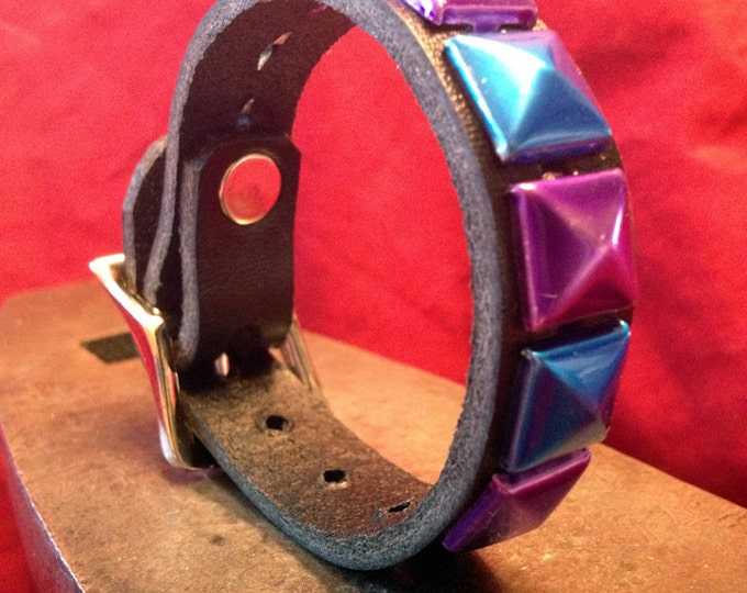 Blue and Purple Studded Leather Cuff