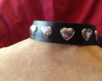 Wide Leather Collar with Metal Hearts