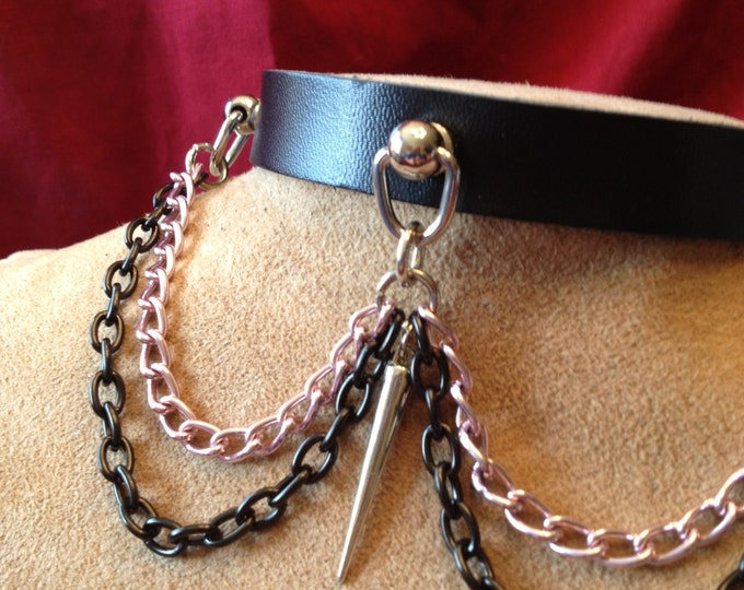 Pink and Black Chain Collar