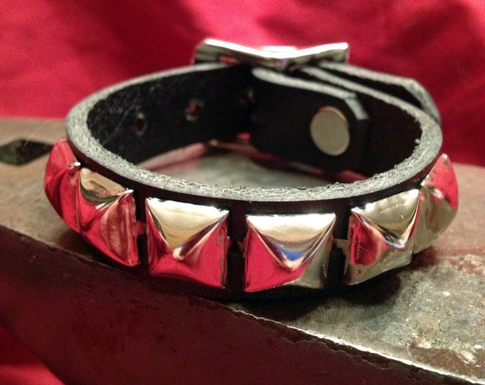 Silver Studded Leather Cuff