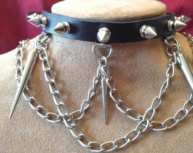 Spiked Chain Leather Collar, leather choker with spikes and hanging chains, sexy spiked leather collar