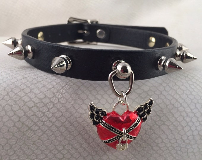 Heart in Chains Spiked Black Leather Bondage Ring Collar