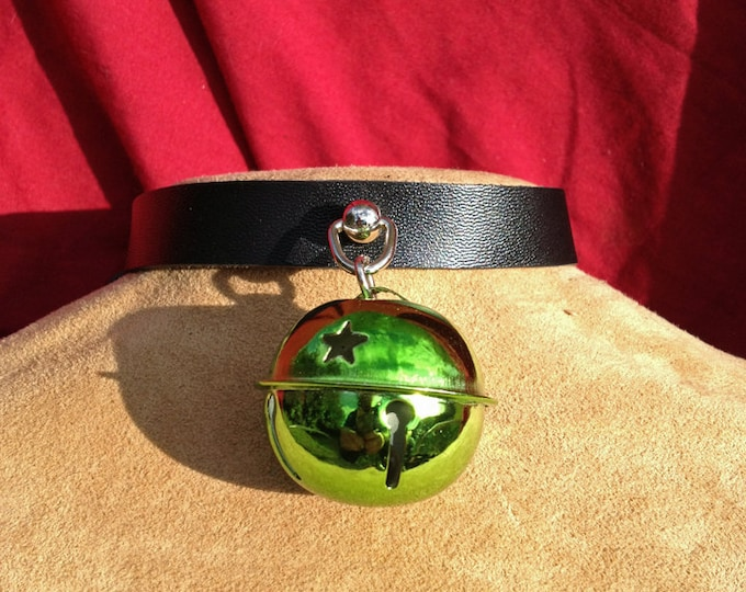 Shiny 1.5 inch Lime Green Bell on Black Leather Choker