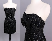 vintage 90s sequin party dress 1990s Mike Benet Formals black lace sequinned sparkly strapless wiggle dress mini dress small