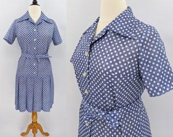 50s Blue Pin Dot Cotton Gauze Shirtwaist Dress with Bow at Neck XL