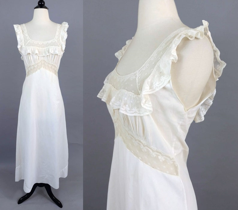 3f92673bb3 Vintage 30s cotton lace nightgown 1930s dainty ruffled