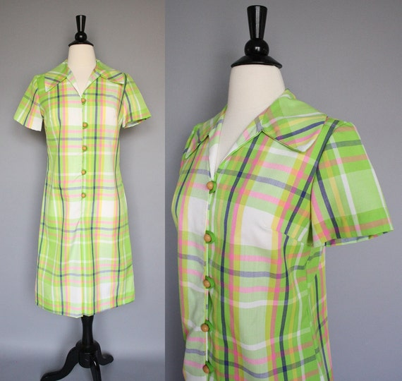 60s Dress / vintage 1960s Lime Green Madras Plaid