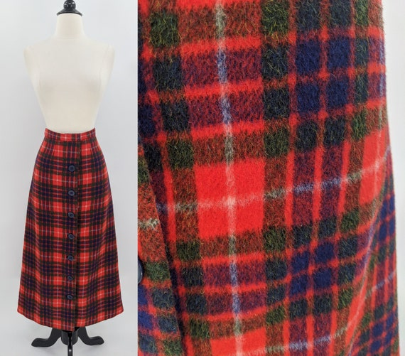 1970s wool plaid button front skirt