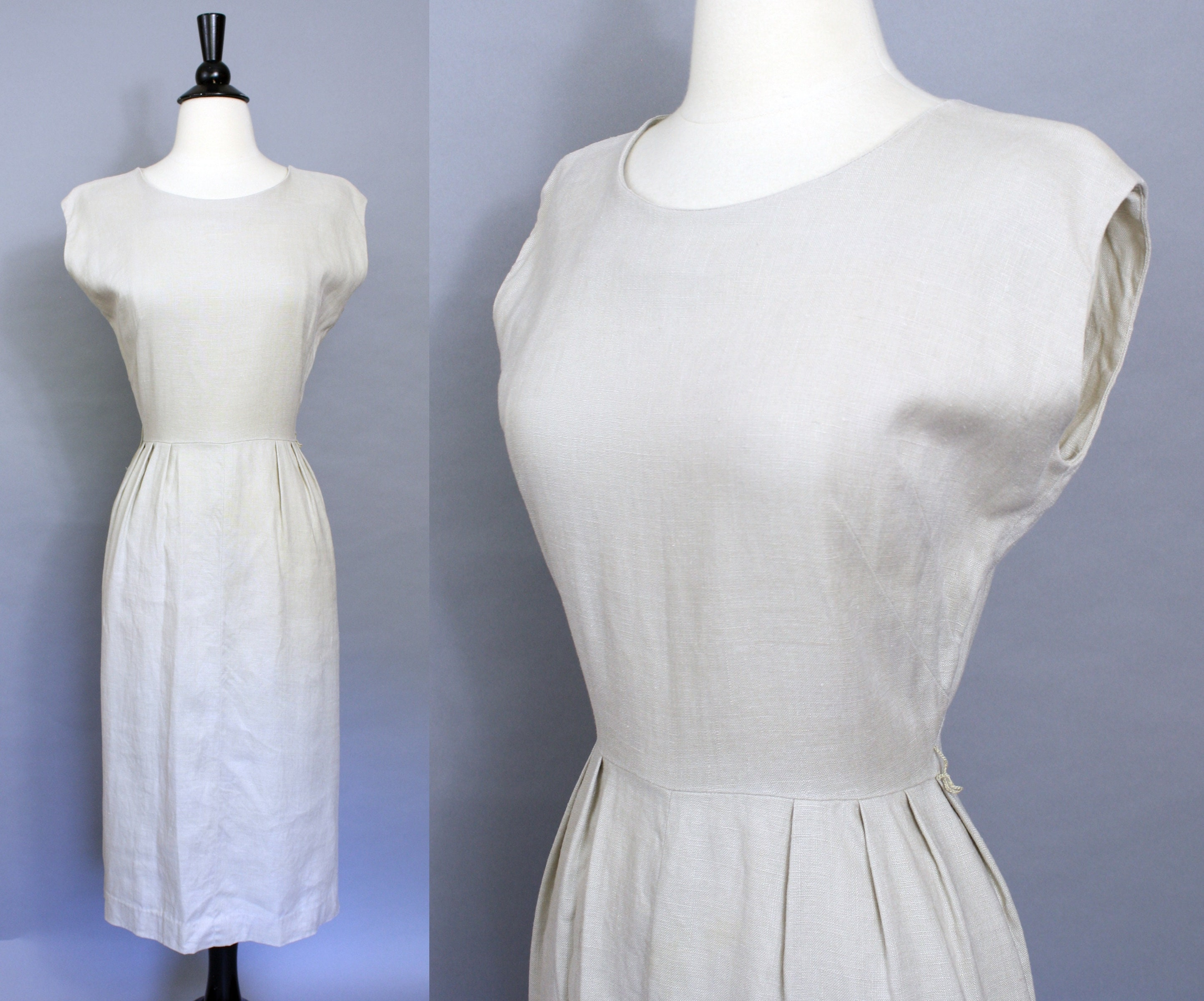 ffa2d2918ac vintage 50s natural rayon pencil dress 1950s beige oatmeal