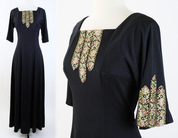 vintage 70s maxi dress | 1970s black metallic flor