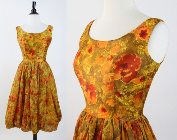 full skirt occasion dress vintage 50s dress 1950s floral party dress yellow stripe red rose print chiffon garden party dress small