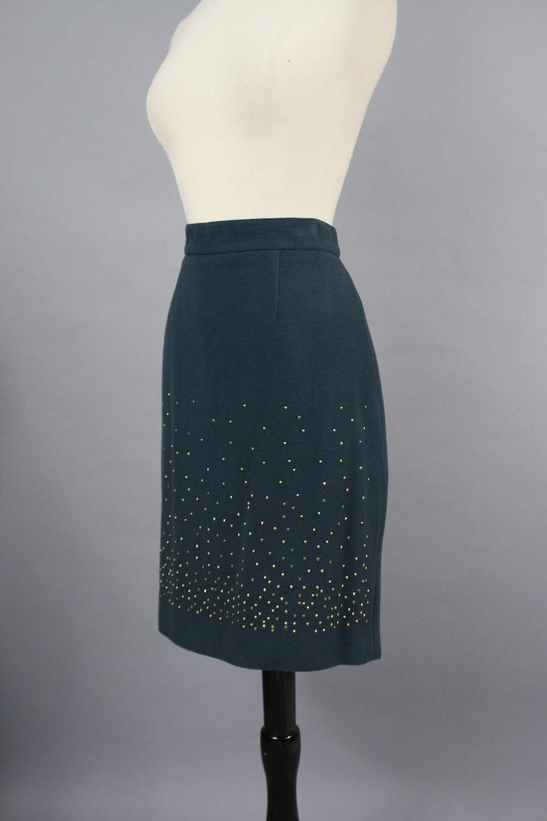 vintage 90s Dark Teal Gold Stud Wool Pencil Skirt  1990s Italian Wool Metal Detail Slim Skirt  Medium