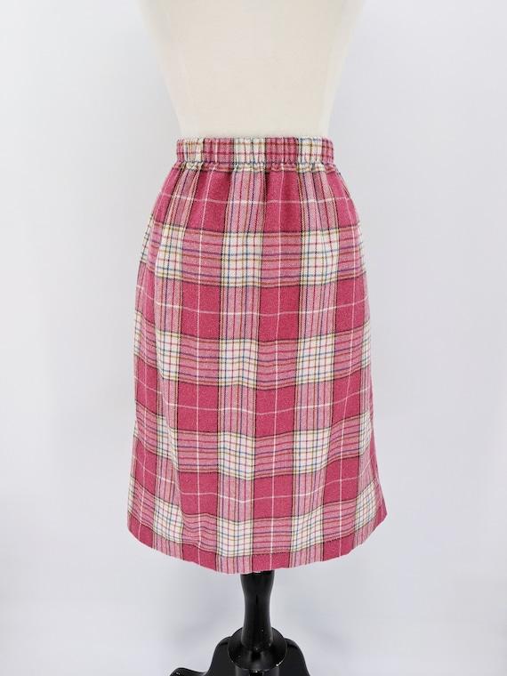 vintage 80s plaid wool skirt medium 1980s dusty rose pink plaid elastic waist straight skirt