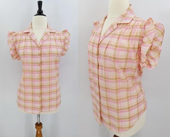 vintage 80s plaid blouse   1980s Just Four pink an